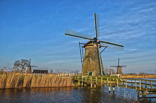 Windmills And Bridge Near Kinderdijk by Frans Blok