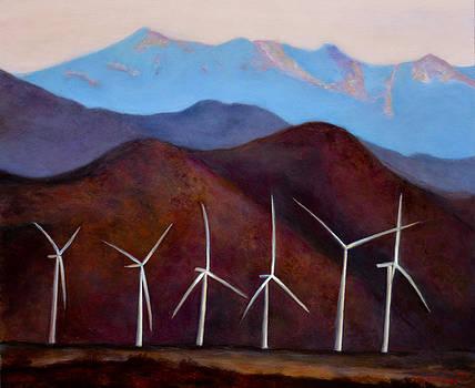 Windmills in the desert by Jennifer Richards