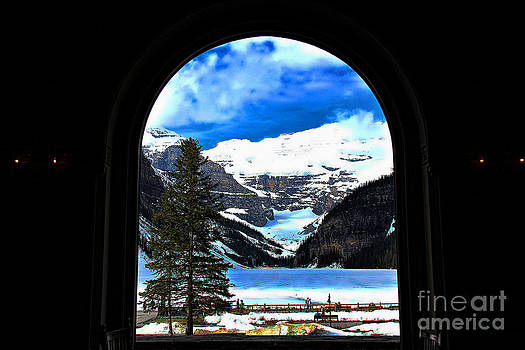 Window to Paradise Lake Louise by Leslie Kirk