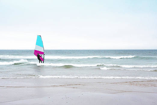Windsurfer with Pink and Aqua by Brooke T Ryan