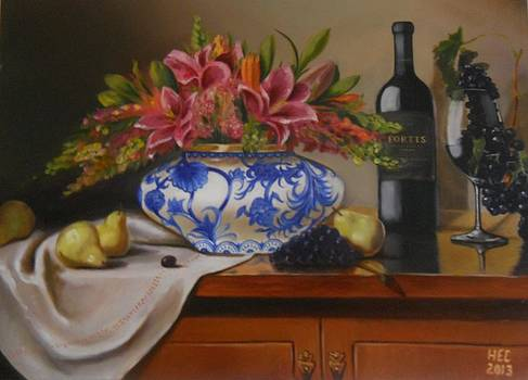 Wine and Flowers by Harry T Ellis