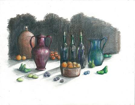 Wine and Fruit  by Jim  Romeo