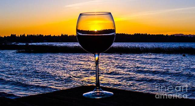 Wine at sunset by Michael Cross