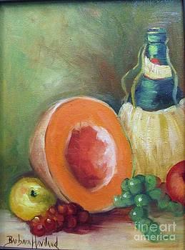 Wine Bottle Cantaloup and Grapes by Barbara Haviland