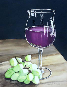 Wine Glass with Grapes by Laurie Anderson