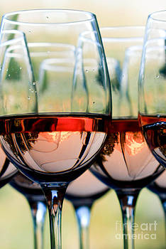 Wine Glasses Filled With Mount Hood by Cari Gesch