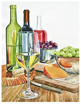 Wine Grapes and Cheese by Rick Mock