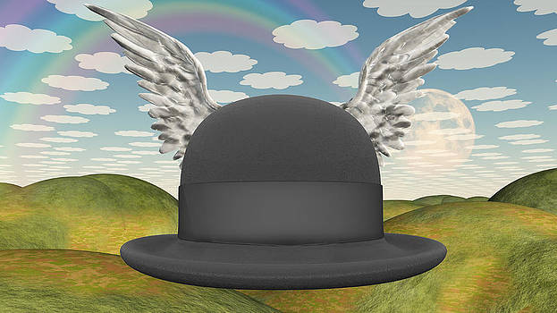 Winged Hat in surreal landscape by Bruce Rolff