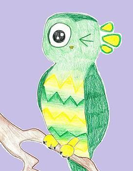 Owl Winking  by Raquel Chaupiz