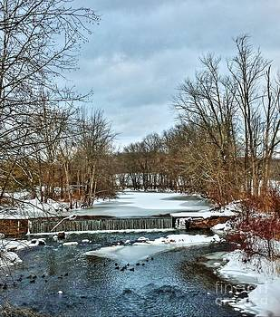 Winter at the Mattabeset River by Marcel  J Goetz  Sr