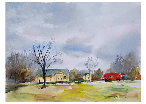 Origional  sold - Winter at the Train Museum Tomball TX by TD Wilson