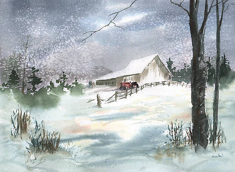 Winter Barn and Tractor by Sean Seal