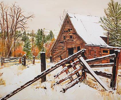 Winter - Barn - Snow in Nevada by Jan Dappen