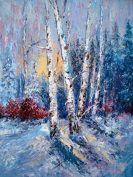 Winter Birch Trees by Holly LaDue Ulrich