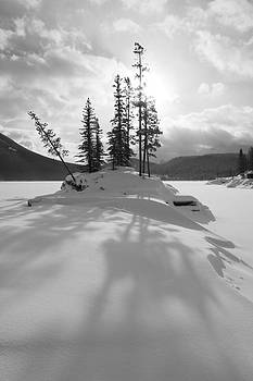 Winter Snow Silhouette - Black and White - Lake Minnewanka, Alberta by Ian Mcadie