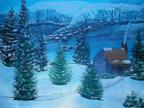 Winter Cabin by Linda Bright Toth
