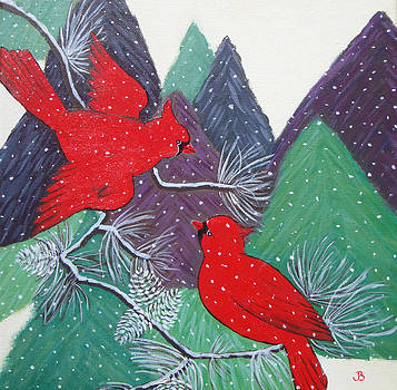 Winter Cardinals by Jeannette Brown