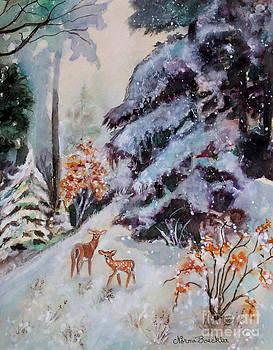 Winter Deer Scene by Norma Boeckler
