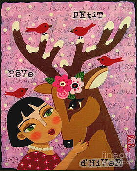 Winter Girl with Deer and Red Birds by LuLu Mypinkturtle