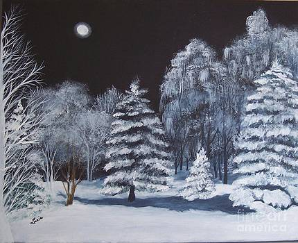 Winter Moonlight In The Country by Lucia Grilletto