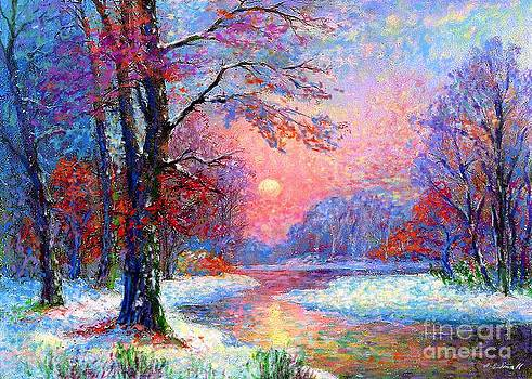 Winter Nightfall, Snow Scene  by Jane Small