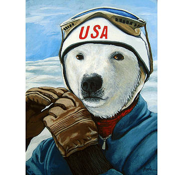 Winter Olympic Skier by Linda Apple