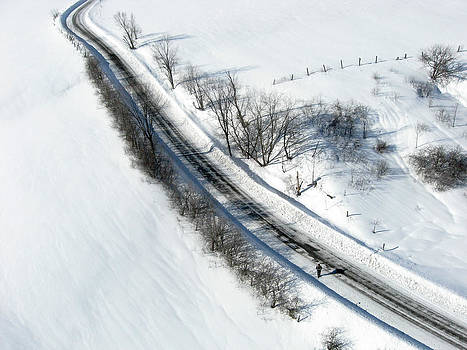 Winter road. Chemin Cross Loop south of Wakefield Quebec. by Rob Huntley
