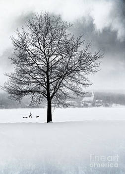 Sandra Cunningham - Winter scene with tree and village in background
