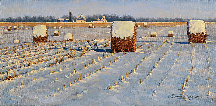 Winter Stubble Bales by Bruce Morrison