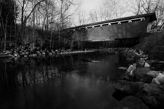 Winter Sunrise at Everett Road Covered Bridge in Black and White by Jeff Picoult