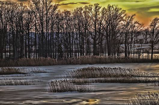 Winter Sunset Along Rt 9 by Donna Harding