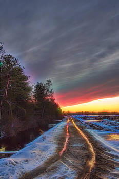 Winter Sunset Road Glow by Beth Sawickie