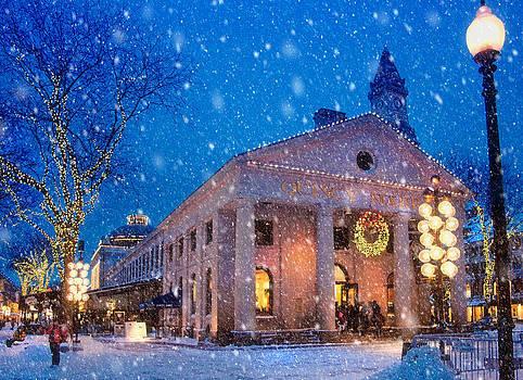 Winter Twilight in Quincy Market by Joann Vitali