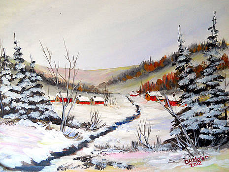 Winter Village on the Creek by Dorothy Maier