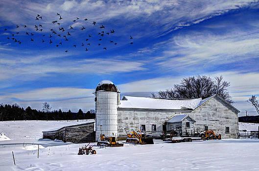 Wintry Barn In New York by David Simons