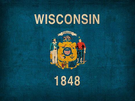 Design Turnpike - Wisconsin State Flag Art on Worn Canvas