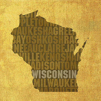Design Turnpike - Wisconsin Word Art State Map on Canvas