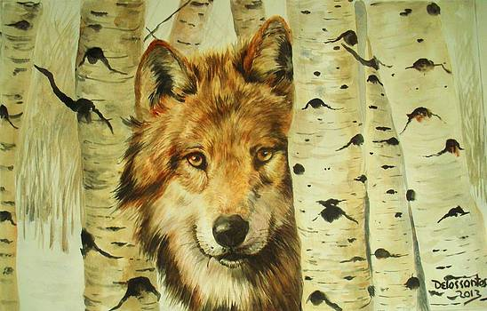 Wolf And White Poplars by Kristina Delossantos