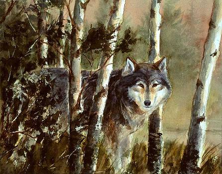 Wolf At the Waters Edge by Robert Stump