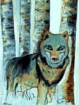 Wolf in the Birches  by Ayasha Loya