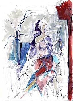 Woman And Bird by Ertan Aktas