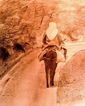Woman and Donkey-going home by Derrick Parsons