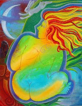 Woman and Solstice Moon by Marie Allen