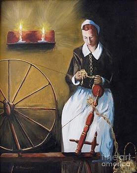 Woman At Spinning Wheel by Robert Arsenault
