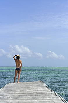 Woman contemplating ocean from pontoon by Sami Sarkis