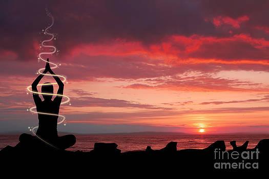 Woman doing yoga Ganges by Monika Wisniewska