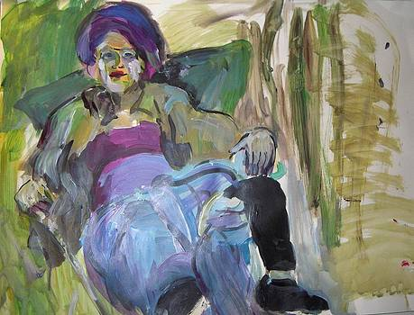 Woman in A Purple Hat by Elaine Schloss