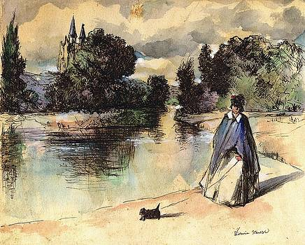 French Woman Walking Dog Influenced by Past Master by Victoria Stavish