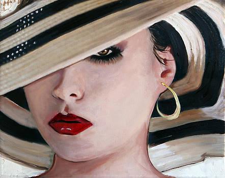 Woman in Striped Hat by Francoise Lynch