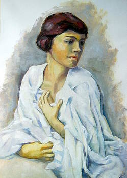 Woman in white painting by Alfons Niex